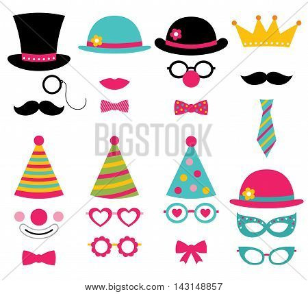 Birthday party photo booth props, design elements set