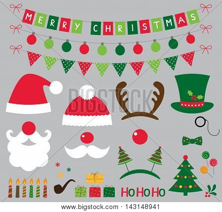Christmas photo booth props set, Santa hats and decoration