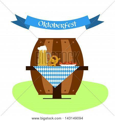 Vector beer, pretzel and sausages for oktoberfest design. Beer festival illustration.