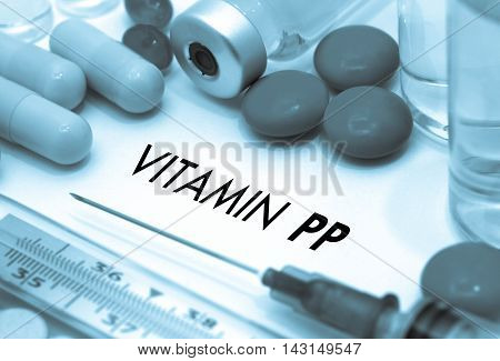 Vitamin pp. Treatment and prevention of disease. Syringe and vaccine. Medical concept. Selective focus