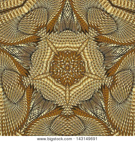 Kaleidoscopic gold pattern. The image is computer graphics created using various programs. It can be used in the design of your site design textile printing industry in a variety of design projects.