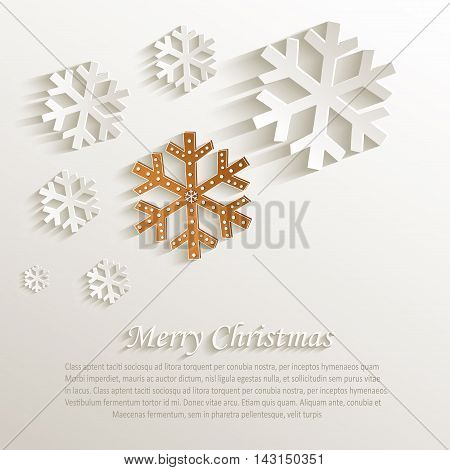 christmas snowflake gingerbread natural paper 3D vector