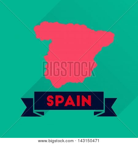 Flat icon with long  shadow Spain map