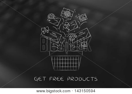 Shopping Basket With Gift Cars And Coupons, Customer Fidelization