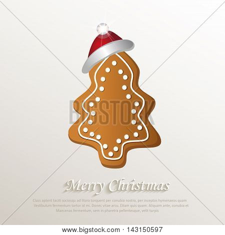 christmas tree gingerbread cap red natural paper 3D vector
