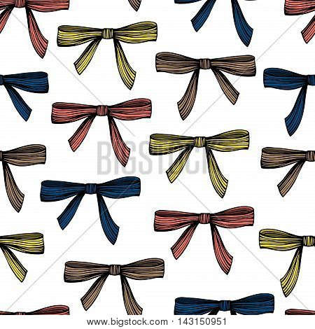 Vintage seamless pattern with hand drawn bows.