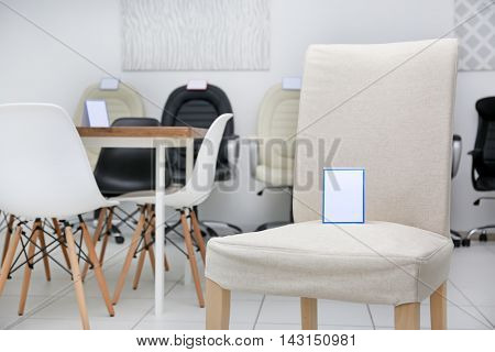 Modern chair for sale in furniture store