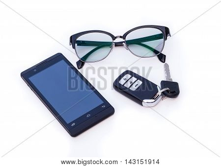 Car key remote Black Eye Glasses Smartphone mobile phone isolated on white background