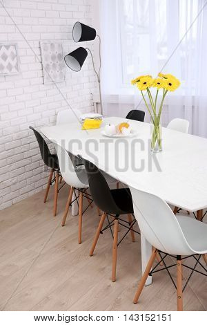 Beautiful interior with table and chairs