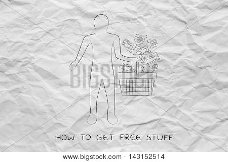 Client's Shopping Basket With Gift Cars And Coupons, Customer Fidelization