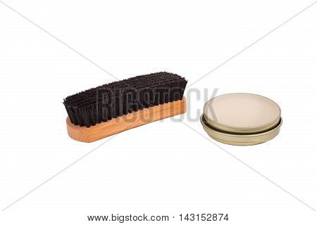 Shoe Brush And Neutral Color Wax Polish Isolated On White Background