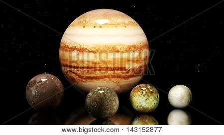 Jupiter's Moons And Star. Elements Of This Image Furnished By Nasa.