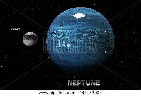 3D Illustration Of Neptune's Moons And Star. Elements Of This Image Furnished By Nasa.