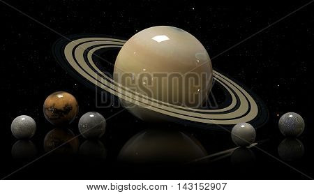 Saturn's Moons And Star. Elements Of This Image Furnished By Nasa.