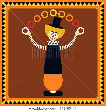 Funny clown. Juggler rings. Flat style. Vector illustration