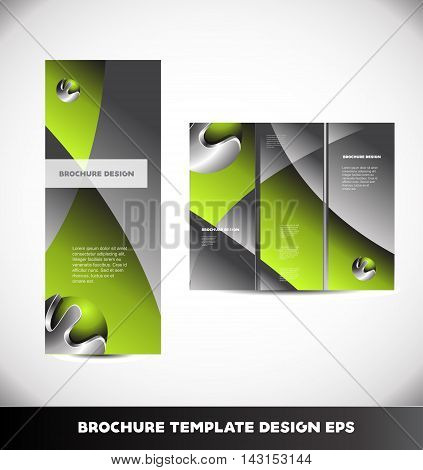 Green metal metallic silver grey vector brochure abstract layout design template tri three folded