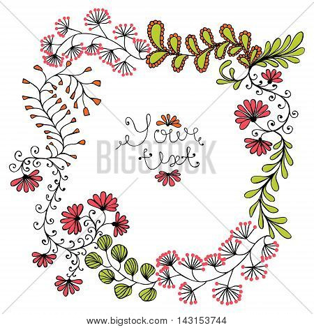 Hand-drawn vintage floral frame. Isolated on white.