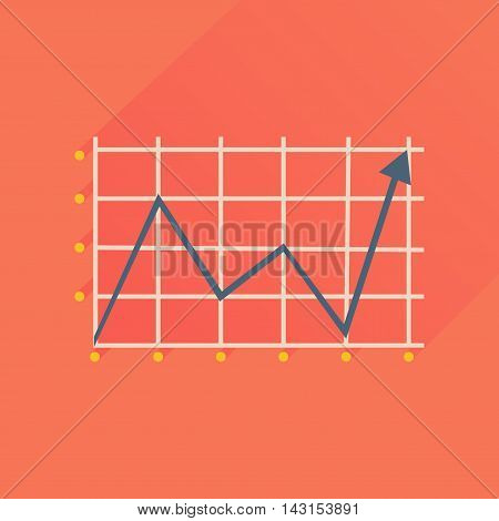 Flat icon with long  shadow economic graph