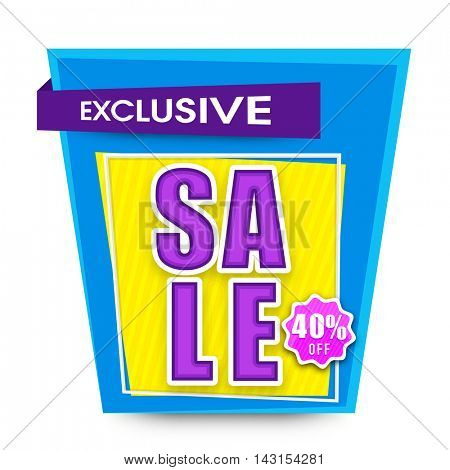 Creative Poster, Banner or Flyer design of Exclusive Sale with 40% Off, Vector illustration.