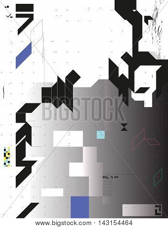 Abstract geometric composition. Contrast cybernetic surface with a dark elements. Modern digital shapes. Background template for a poster cover annual report invitation card or postcard.