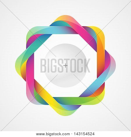 Colorful twisted frame with a bright sphere. Optical illusion with a 3d effect. Template for a logo symbol icon emblem. Useful design element.