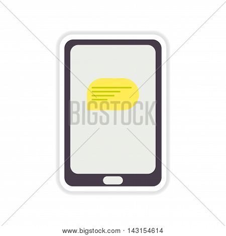 paper sticker on white  background phone message