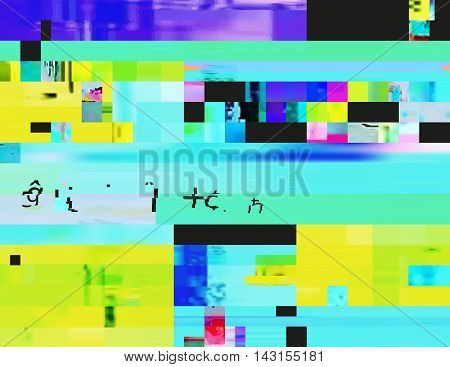Glitch background in the rave aesthetic. Random digital signal error. Abstract contemporary print made of colorful pixel mosaic. Element of design for a trendy poster cover invitation or postcard.