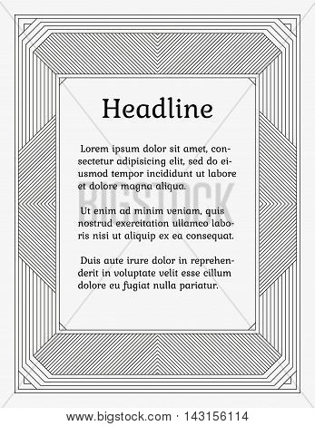 Wide linear monochrome frame. Old fashioned minimalistic book style. Element of design for a cover title page certificate or greeting card.