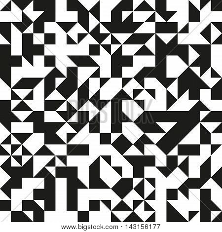 Modern black and white triangular pattern. Generative texture for a background.
