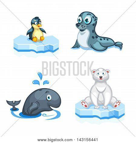 Set of vector cartoon arctic animals a navy seal, a polar bear, a whale and a penguin