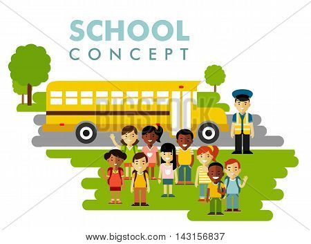 Multicultural kids group, driver and school bus on white background