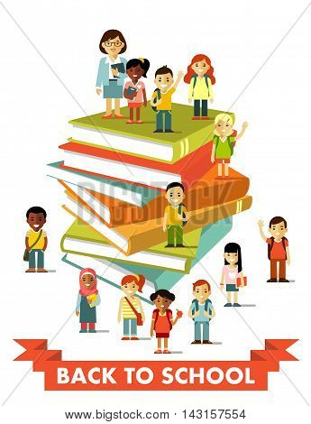 Different multicultural children group and school teacher near big books