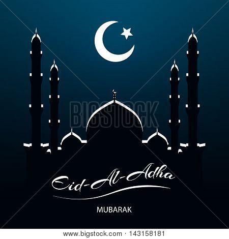 Eid Al Adha, Islamic religion celebration, night vector background. Mosque, Moon and Star Islamic Symbol.