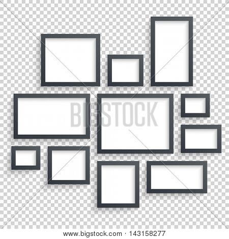 Photo art gallery. Dark Blank Frames Collection on Wall with Transparent Realistic Shadow