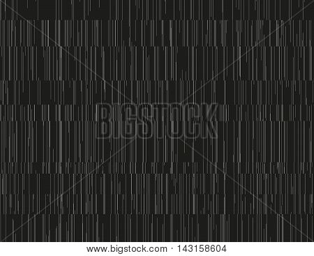 Monochrome seamless pattern with glitched and shuffled thin lines. Streams of collapsing data. Abstract endless background texture. Element of design for web or print products.