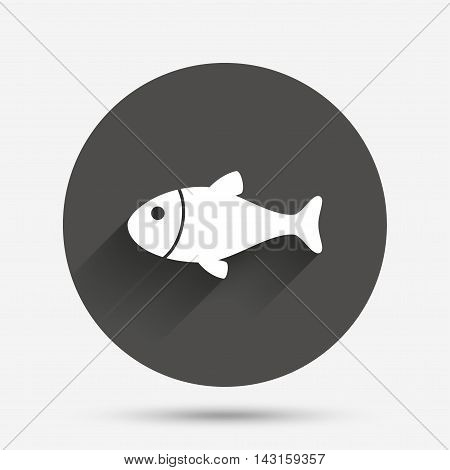 Fish sign icon. Fishing symbol. Circle flat button with shadow. Vector