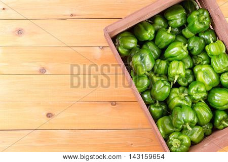 Crate Of Fresh Green Peppers From Top View