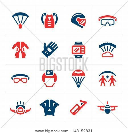 Set color icons of parachute isolated on white. Vector illustration
