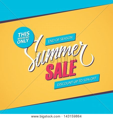 Summer Sale. This weekend special offer banner, discount up to 50% off. End of season. Vector illustration.