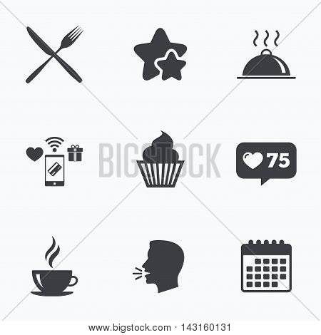 Food and drink icons. Muffin cupcake symbol. Fork and knife sign. Hot coffee cup. Food platter serving. Flat talking head, calendar icons. Stars, like counter icons. Vector