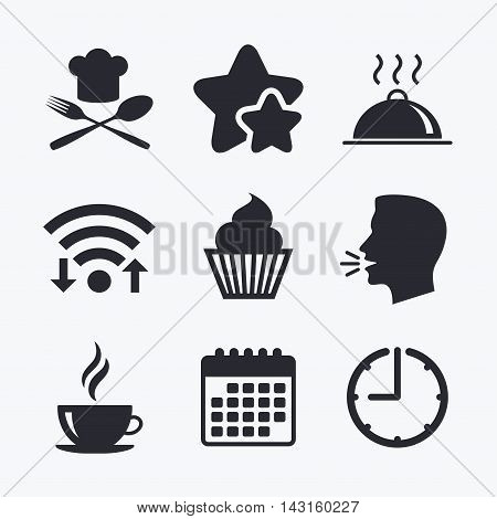 Food and drink icons. Muffin cupcake symbol. Fork and spoon with Chef hat sign. Hot coffee cup. Food platter serving. Wifi internet, favorite stars, calendar and clock. Talking head. Vector