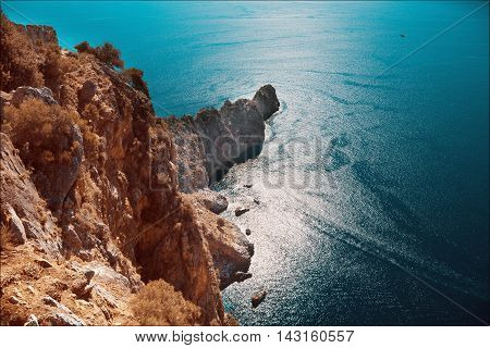big Mediterranean Sea and Mountain Antalya Turkey