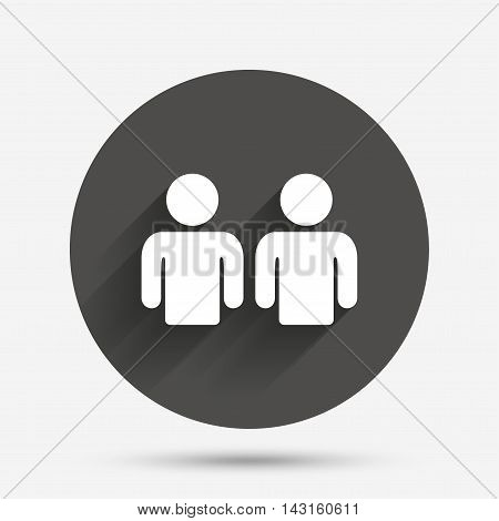 Friends sign icon. Social media symbol. Circle flat button with shadow. Vector