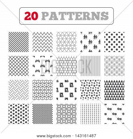 Ornament patterns, diagonal stripes and stars. Gamer icons. Board games players signs. Video game joystick symbol. Casino playing card. Geometric textures. Vector