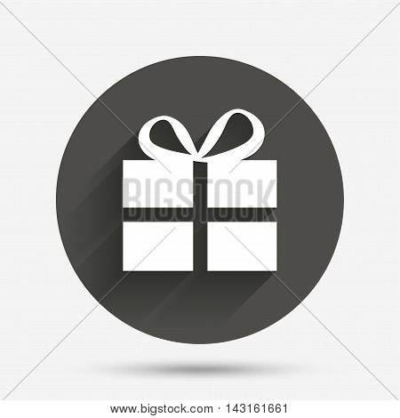 Gift box sign icon. Present symbol. Circle flat button with shadow. Vector