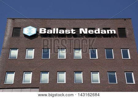Amsterdam Netherlands-august 18 2016: Letters Ballast Nedam on a wallBallast Nedam is a major Dutch construction company
