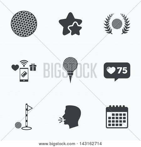 Golf ball icons. Laurel wreath winner award sign. Luxury sport symbol. Flat talking head, calendar icons. Stars, like counter icons. Vector