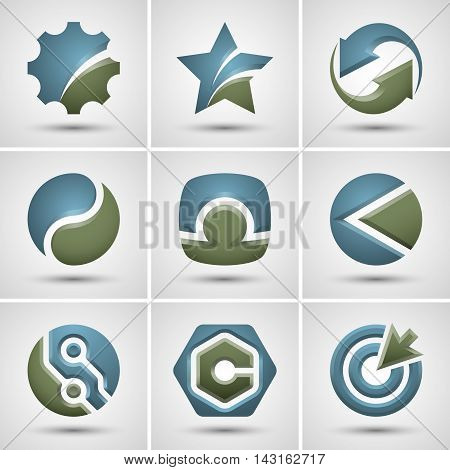 Set of different logo. Vector icons.  Contains transparent objects.