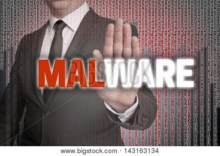 Malware With Matrix Is Shown By Businessman
