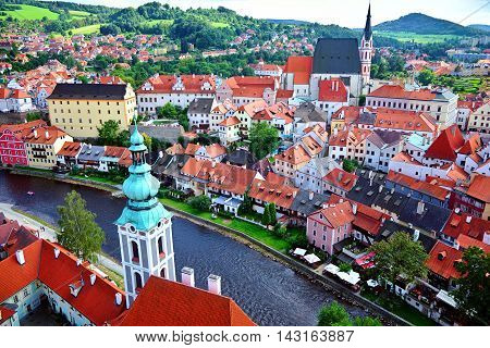 Czech Krumlov Czech Republic - August 17 2016: View of the castle in the Czech Krumlov and the Vltava River